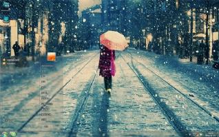 寒冷冬季街道雪景背影win7主题